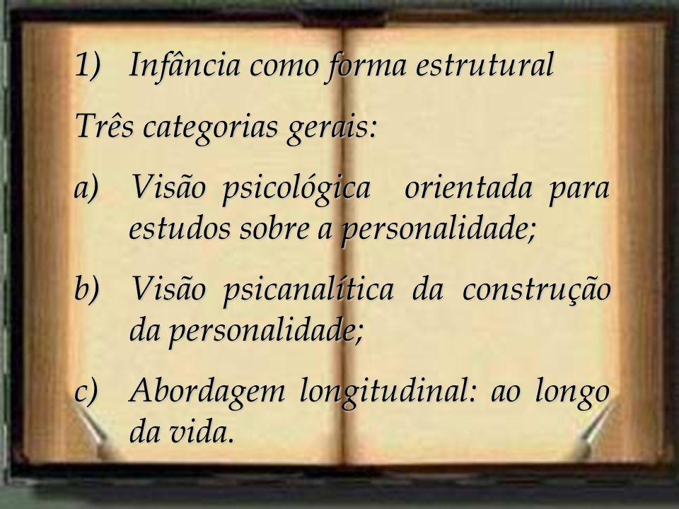 1)Infância como forma estrutural Três categorias gerais: a)Visão psicológica orientada para estudos sobre a personalidade; b)Visão psicanalítica da co