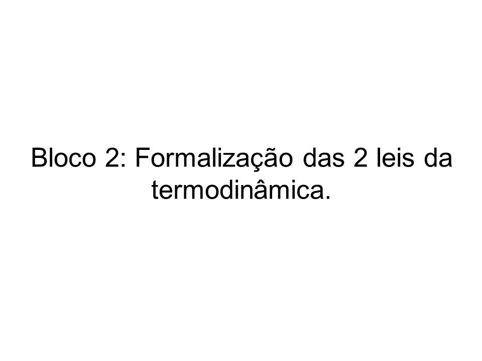 Bloco 2: Formalização das 2 leis da termodinâmica.