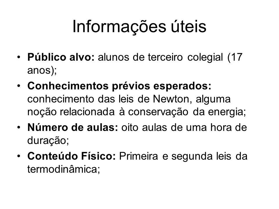 Informações úteis Público alvo: alunos de terceiro colegial (17 anos); Conhecimentos prévios esperados: conhecimento das leis de Newton, alguma noção