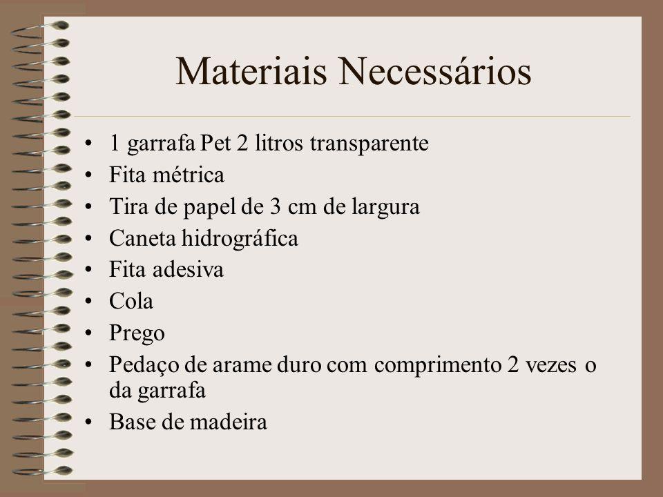 Materiais Necessários 1 garrafa Pet 2 litros transparente Fita métrica Tira de papel de 3 cm de largura Caneta hidrográfica Fita adesiva Cola Prego Pe