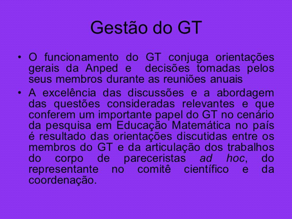 Gestão do GT O funcionamento do GT conjuga orientações gerais da Anped e decisões tomadas pelos seus membros durante as reuniões anuais A excelência d