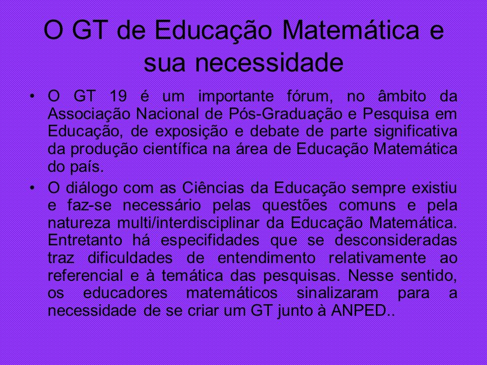 O GT de Educação Matemática e sua necessidade O GT 19 é um importante fórum, no âmbito da Associação Nacional de Pós-Graduação e Pesquisa em Educação,
