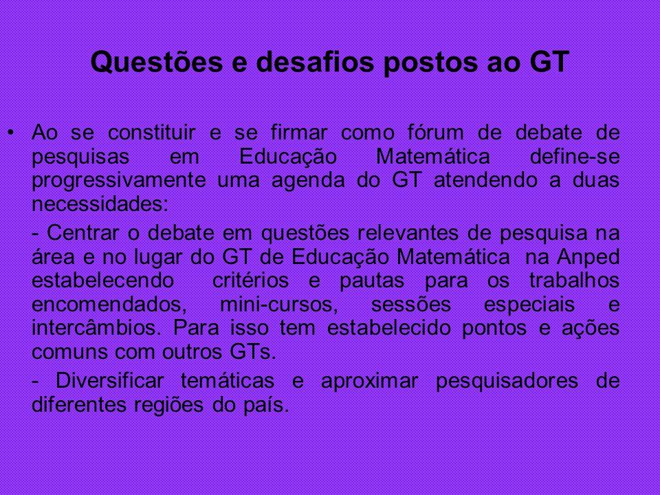 Questões e desafios postos ao GT Ao se constituir e se firmar como fórum de debate de pesquisas em Educação Matemática define-se progressivamente uma