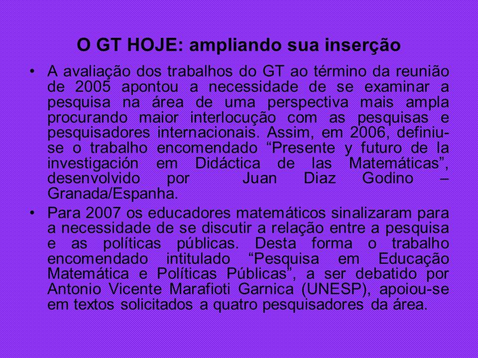 O GT HOJE: ampliando sua inserção A avaliação dos trabalhos do GT ao término da reunião de 2005 apontou a necessidade de se examinar a pesquisa na áre