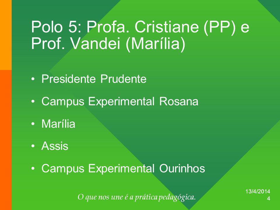 13/4/2014 O que nos une é a prática pedagógica. 4 Polo 5: Profa. Cristiane (PP) e Prof. Vandei (Marília) Presidente Prudente Campus Experimental Rosan