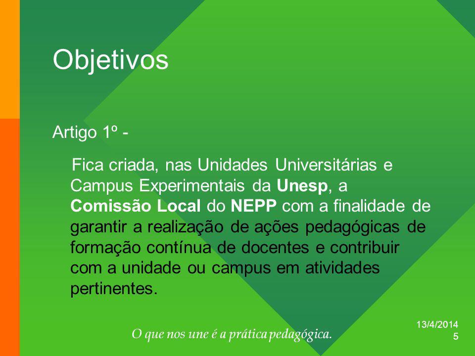 13/4/2014 O que nos une é a prática pedagógica.
