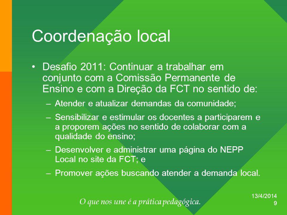 13/4/2014 O que nos une é a prática pedagógica. 9 Coordenação local Desafio 2011: Continuar a trabalhar em conjunto com a Comissão Permanente de Ensin