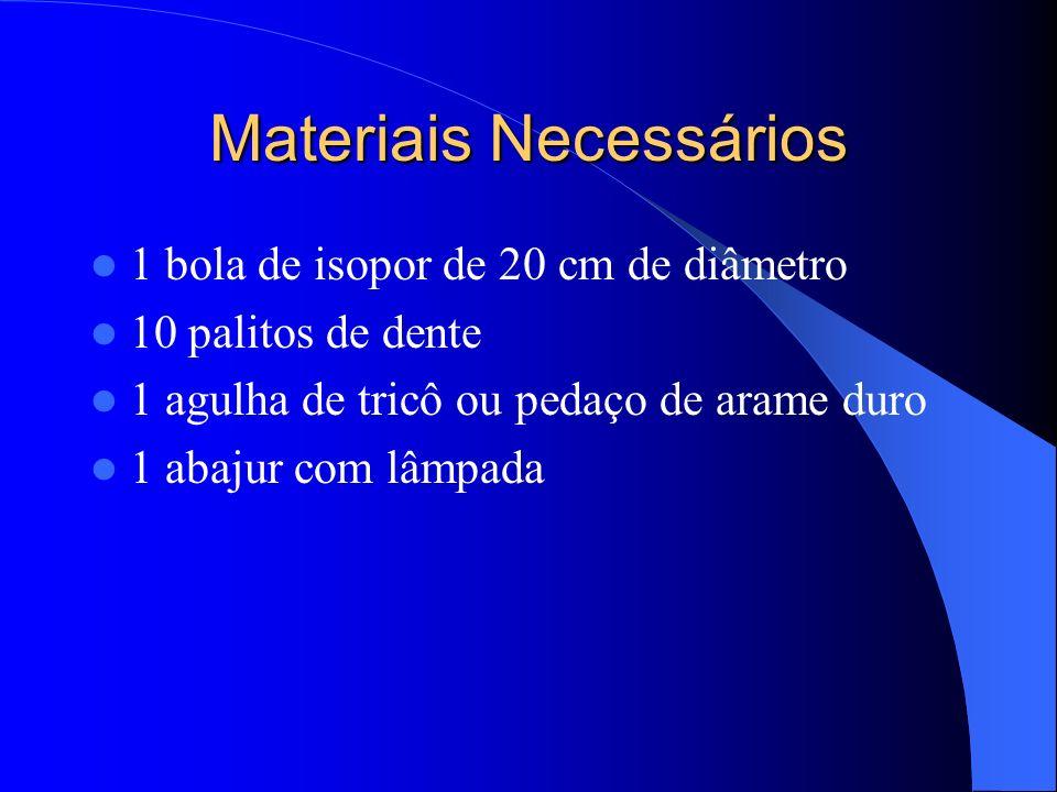 Materiais Necessários 1 bola de isopor de 20 cm de diâmetro 10 palitos de dente 1 agulha de tricô ou pedaço de arame duro 1 abajur com lâmpada