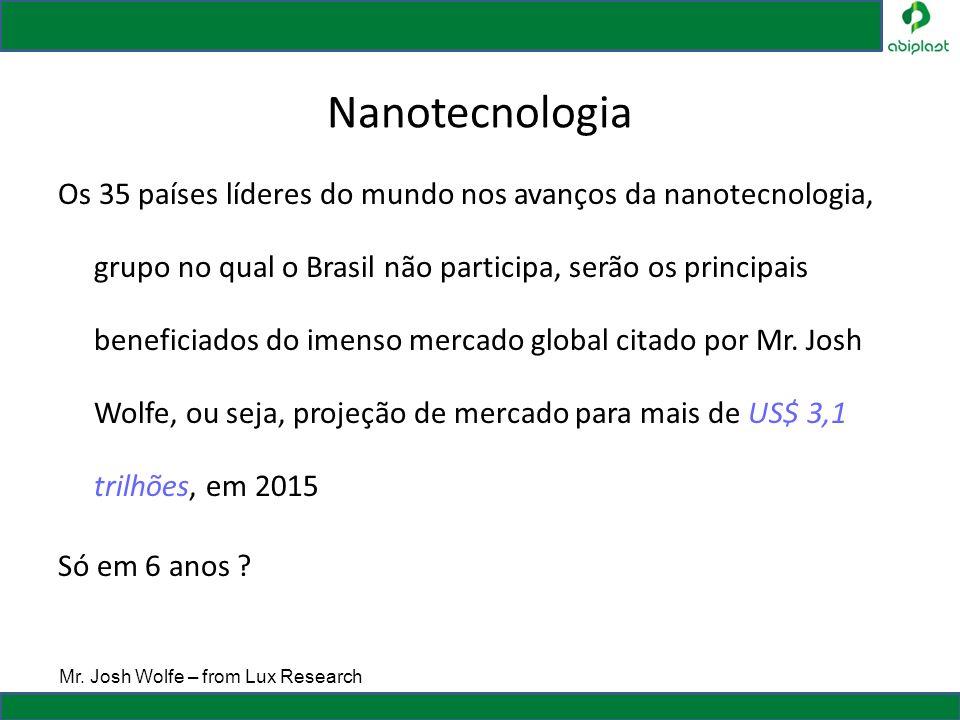 Nanotecnologia Os 35 países líderes do mundo nos avanços da nanotecnologia, grupo no qual o Brasil não participa, serão os principais beneficiados do