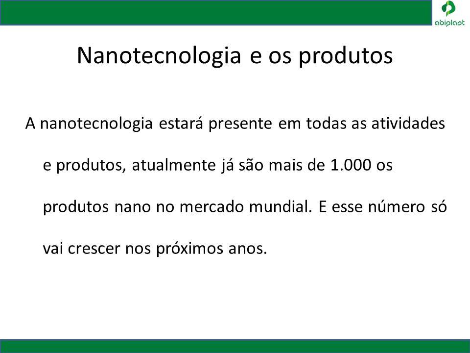 Nanotecnologia e os produtos A nanotecnologia estará presente em todas as atividades e produtos, atualmente já são mais de 1.000 os produtos nano no m
