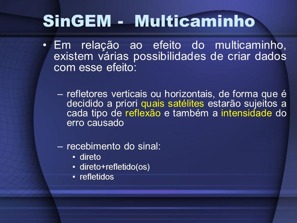 SinGEM Uma vez criado o cenário, deve-se conectar o mesmo com o hardware simulador (INPE) podem ser gerados os arquivos RINEX de observação e navegação data e tempo de simulação determinados no cenário