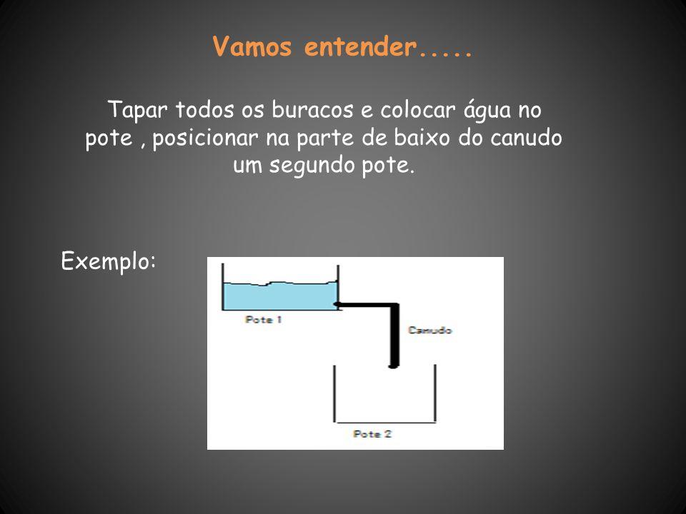 Vamos entender..... Tapar todos os buracos e colocar água no pote, posicionar na parte de baixo do canudo um segundo pote. Exemplo: