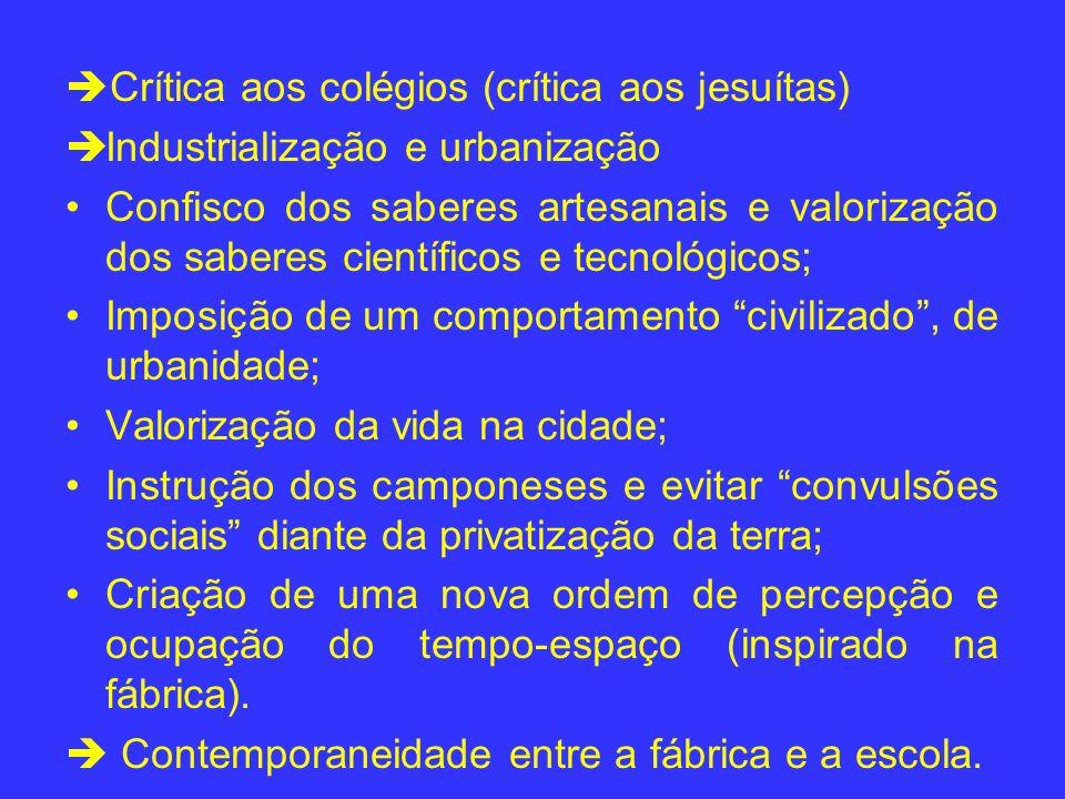 Crítica aos colégios (crítica aos jesuítas) Industrialização e urbanização Confisco dos saberes artesanais e valorização dos saberes científicos e tec