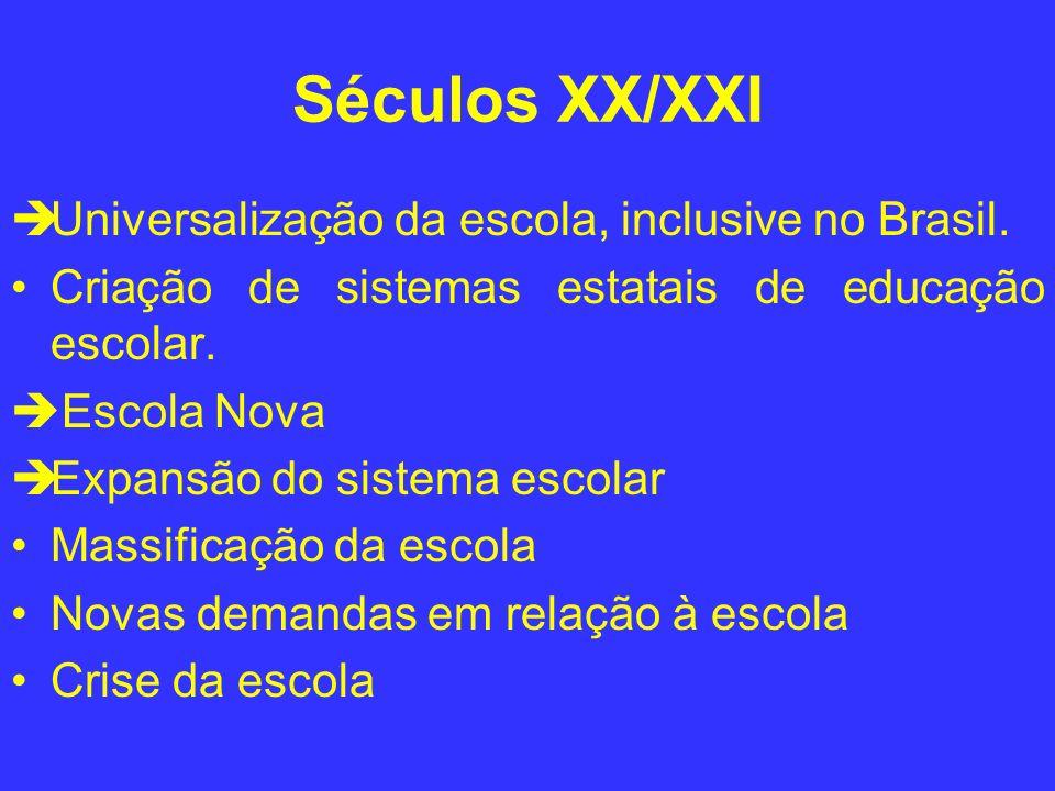 Séculos XX/XXI Universalização da escola, inclusive no Brasil. Criação de sistemas estatais de educação escolar. Escola Nova Expansão do sistema escol
