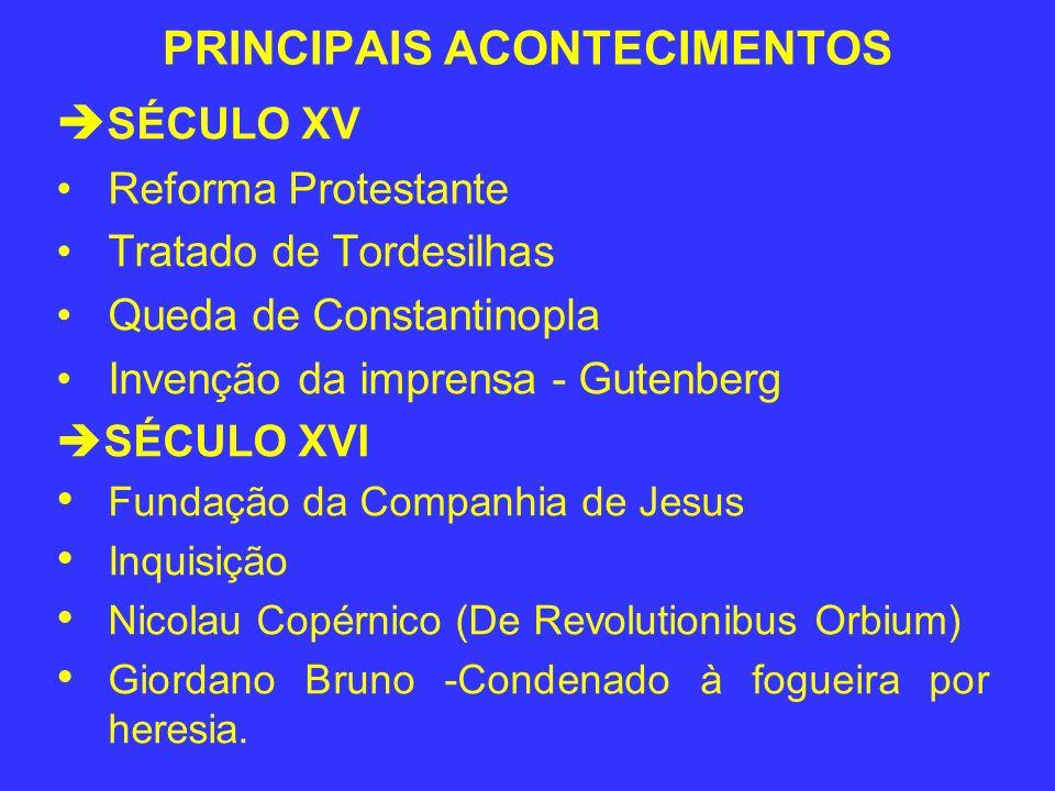 PRINCIPAIS ACONTECIMENTOS SÉCULO XV Reforma Protestante Tratado de Tordesilhas Queda de Constantinopla Invenção da imprensa - Gutenberg SÉCULO XVI Fun