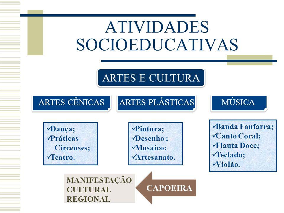 ATIVIDADES SOCIOEDUCATIVAS ARTES E CULTURA ARTES CÊNICAS ARTES PLÁSTICAS MÚSICA Dança; Práticas Circenses; Teatro. Banda Fanfarra; Canto Coral; Flauta