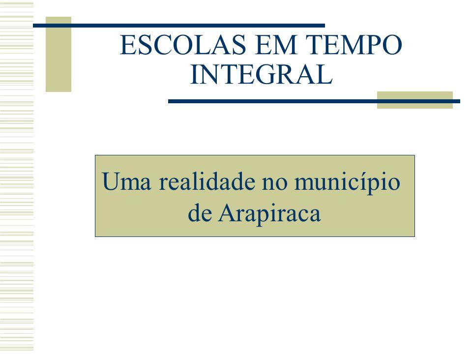 ESCOLAS EM TEMPO INTEGRAL Uma realidade no município de Arapiraca