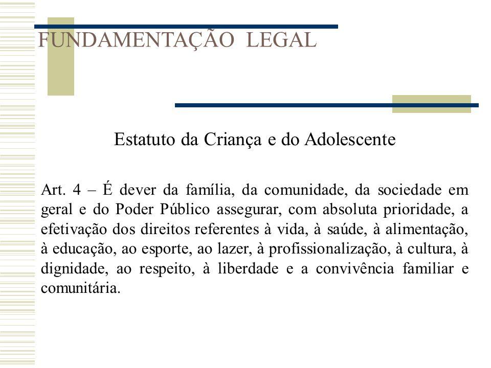 FUNDAMENTAÇÃO LEGAL Estatuto da Criança e do Adolescente Art. 4 – É dever da família, da comunidade, da sociedade em geral e do Poder Público assegura