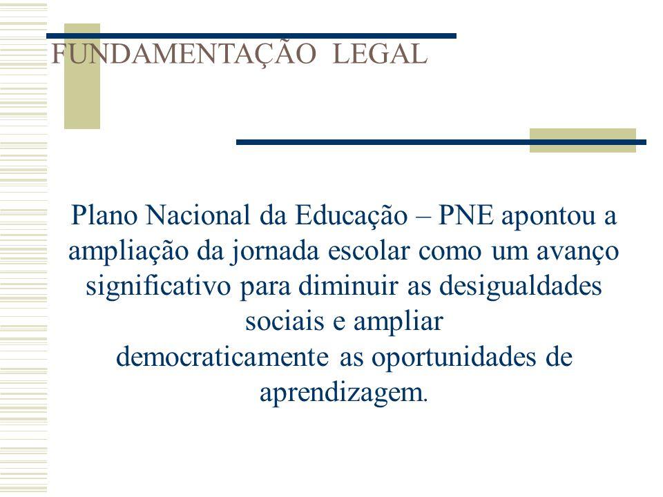 FUNDAMENTAÇÃO LEGAL Plano Nacional da Educação – PNE apontou a ampliação da jornada escolar como um avanço significativo para diminuir as desigualdade