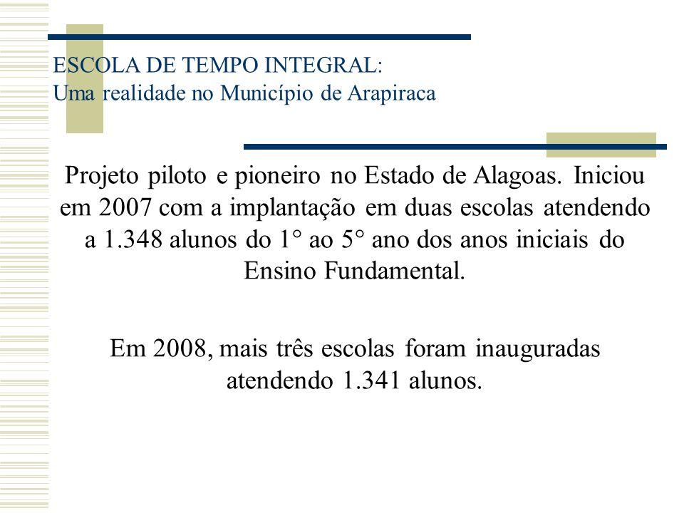 ESCOLA DE TEMPO INTEGRAL: Uma realidade no Município de Arapiraca Projeto piloto e pioneiro no Estado de Alagoas. Iniciou em 2007 com a implantação em