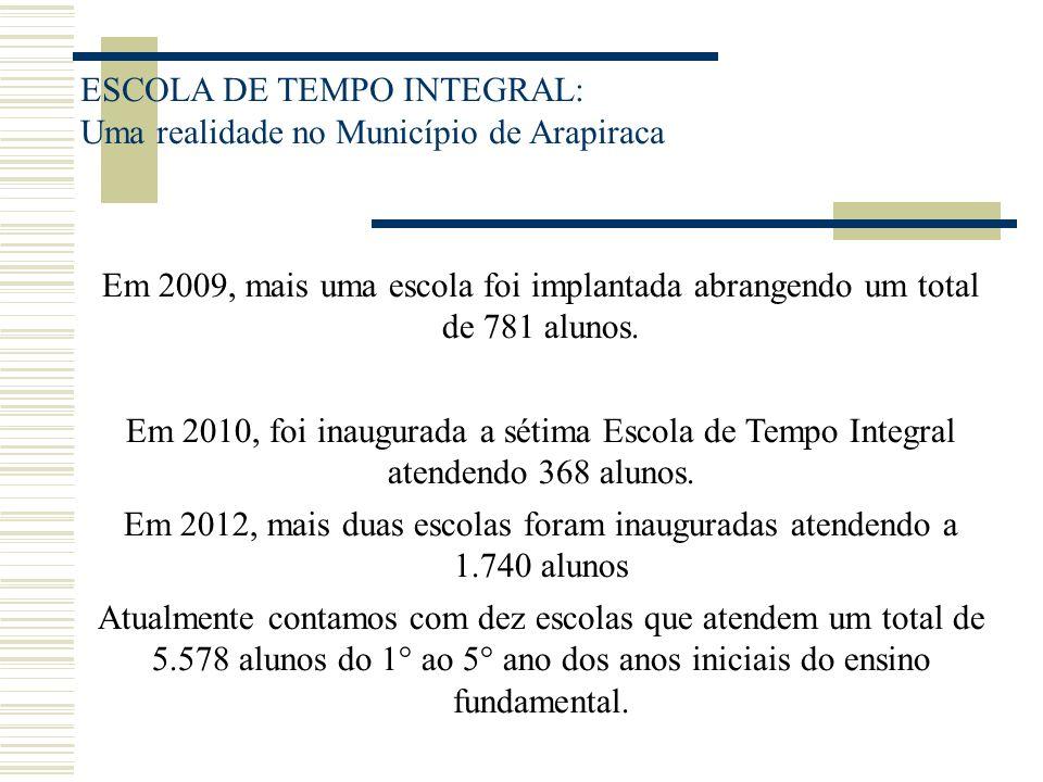 ESCOLA DE TEMPO INTEGRAL: Uma realidade no Município de Arapiraca Em 2009, mais uma escola foi implantada abrangendo um total de 781 alunos. Em 2010,