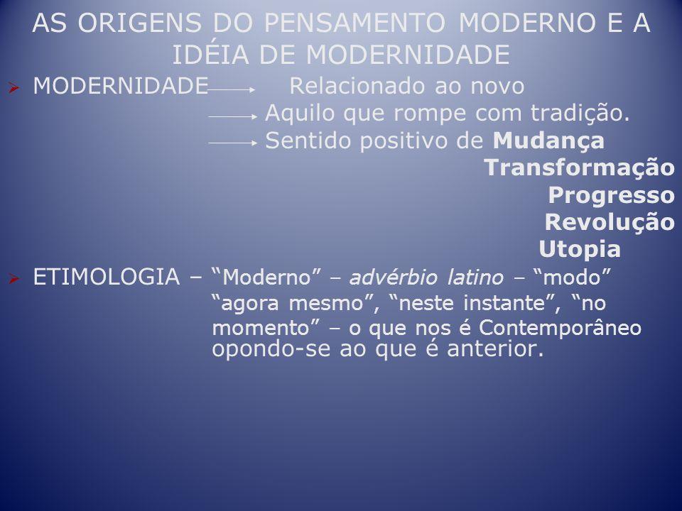 AS ORIGENS DO PENSAMENTO MODERNO E A IDÉIA DE MODERNIDADE MODERNIDADE Relacionado ao novo Aquilo que rompe com tradição. Sentido positivo de Mudança T