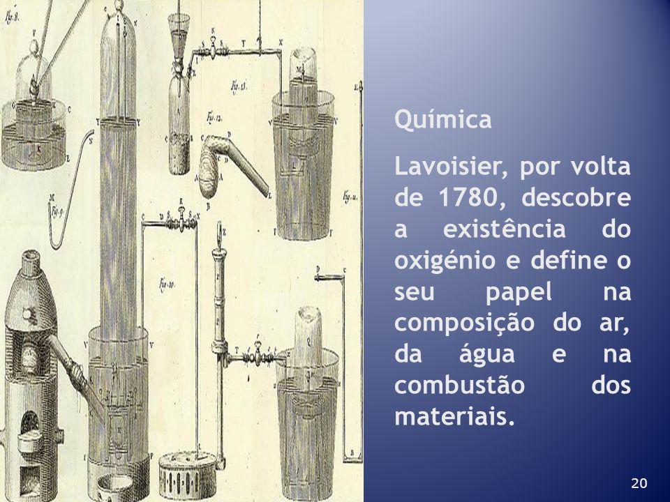 20 Química Lavoisier, por volta de 1780, descobre a existência do oxigénio e define o seu papel na composição do ar, da água e na combustão dos materi