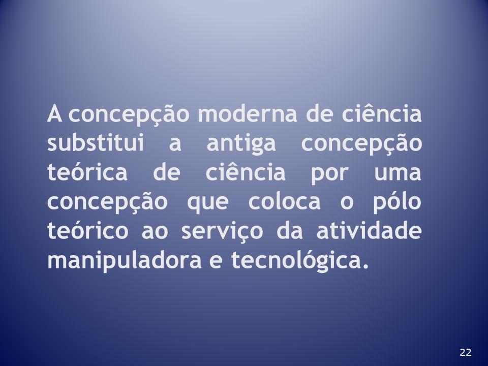 22 A concepção moderna de ciência substitui a antiga concepção teórica de ciência por uma concepção que coloca o pólo teórico ao serviço da atividade