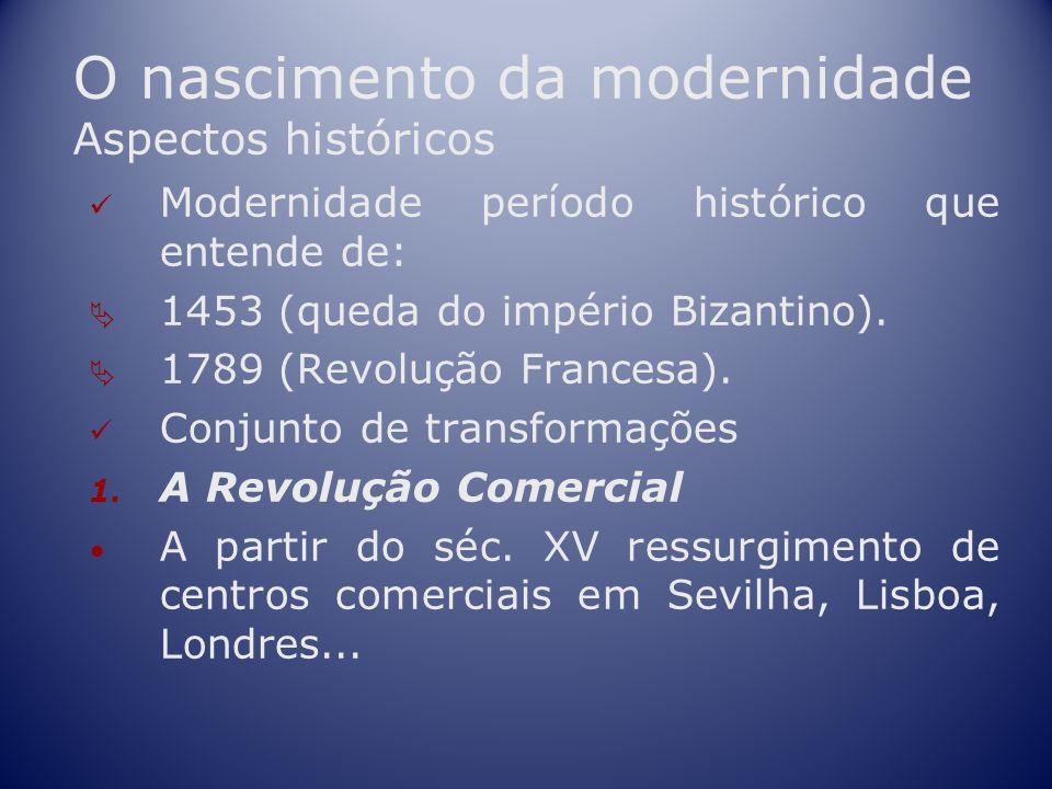 O nascimento da modernidade Aspectos históricos Modernidade período histórico que entende de: 1453 (queda do império Bizantino). 1789 (Revolução Franc