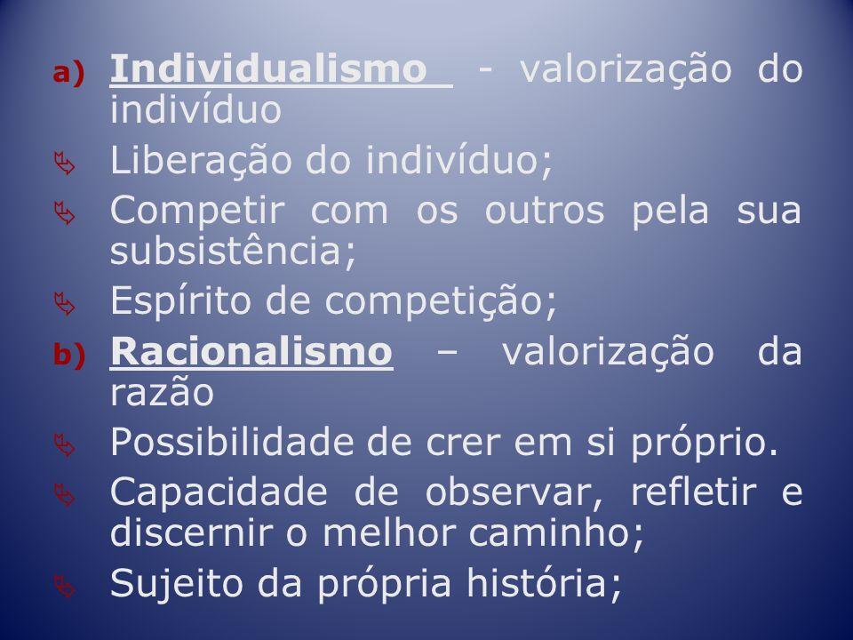a) Individualismo - valorização do indivíduo Liberação do indivíduo; Competir com os outros pela sua subsistência; Espírito de competição; b) Racional