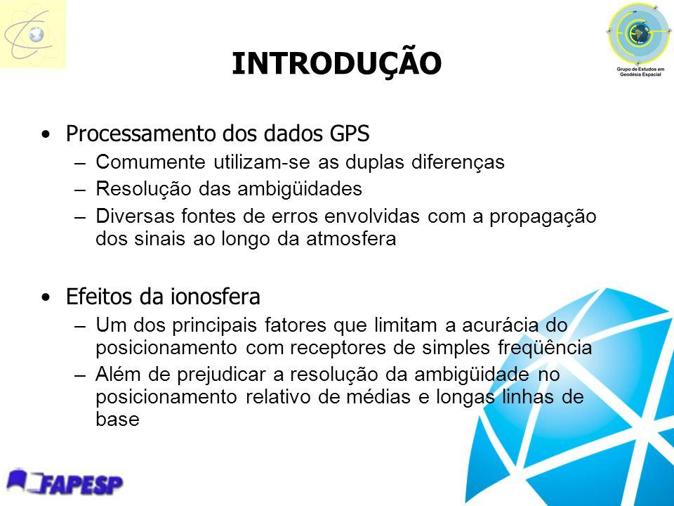 INTRODUÇÃO Processamento dos dados GPS –Comumente utilizam-se as duplas diferenças –Resolução das ambigüidades –Diversas fontes de erros envolvidas co