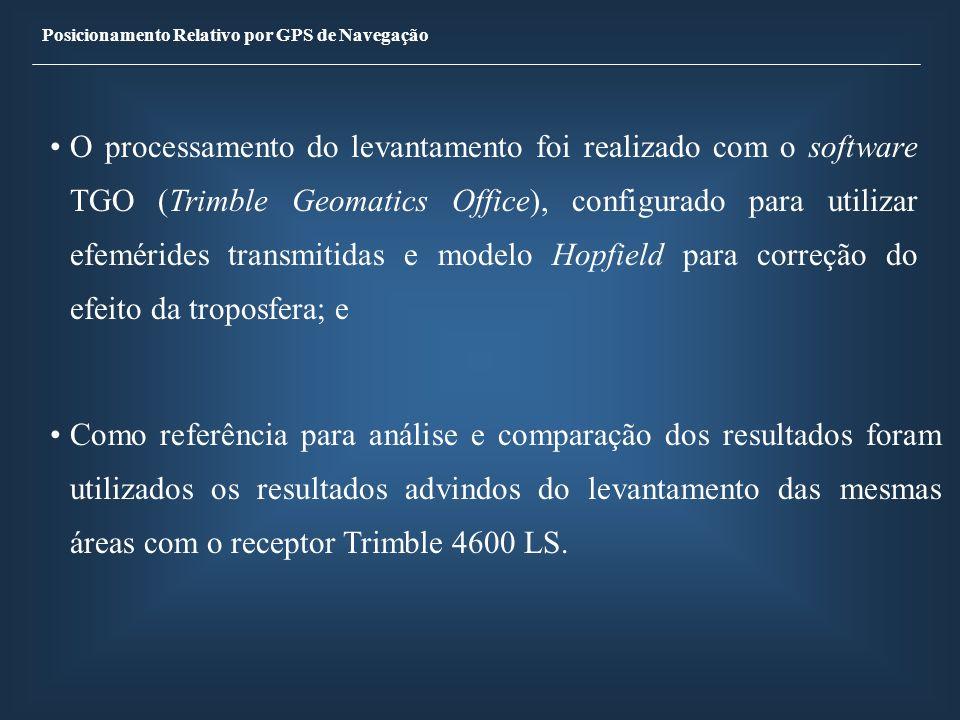 Posicionamento Relativo por GPS de Navegação O processamento do levantamento foi realizado com o software TGO (Trimble Geomatics Office), configurado