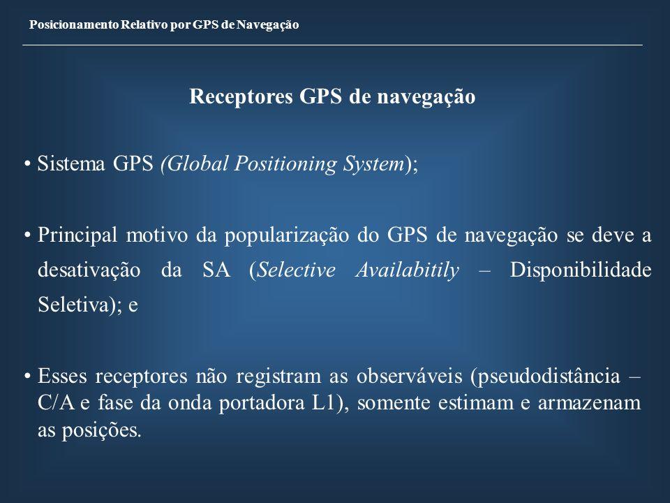 Posicionamento Relativo por GPS de Navegação Receptores GPS de navegação Sistema GPS (Global Positioning System); Principal motivo da popularização do