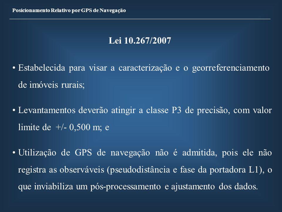 Posicionamento Relativo por GPS de Navegação OBJETIVOS Avaliar os resultados do posicionamento relativo estático e estático rápido, em linhas de base de até 20 km, com receptor GPS de navegação, através do pós-processamento dos dados coletado por meio dos programas freeware ASYNC e GAR2RNX; e Investigar a utilização dos receptores de navegação para atendimento da Lei 10267/2001, para georreferenciamento de imóveis rurais.