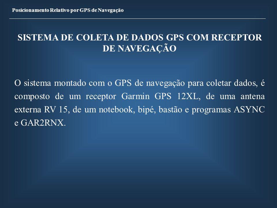 Posicionamento Relativo por GPS de Navegação SISTEMA DE COLETA DE DADOS GPS COM RECEPTOR DE NAVEGAÇÃO O sistema montado com o GPS de navegação para co