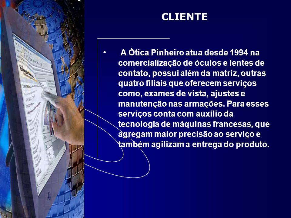 CLIENTE A Ótica Pinheiro atua desde 1994 na comercialização de óculos e lentes de contato, possui além da matriz, outras quatro filiais que oferecem s