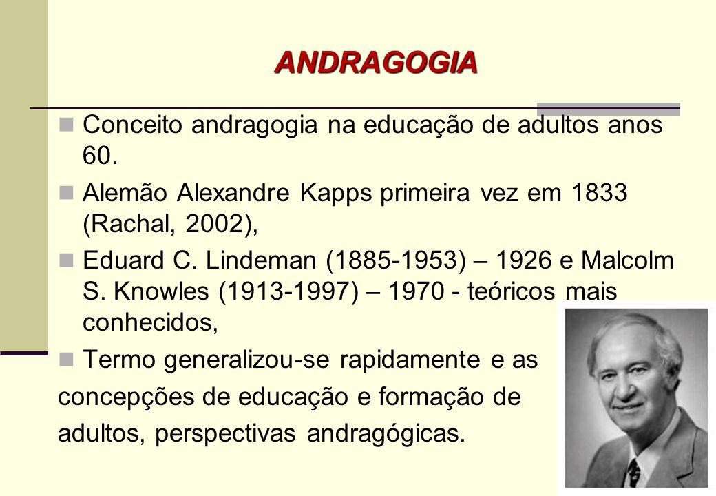 Illeris (2000) considera que atualmente são três as tendências dominantes que definem as práticas de educação e formação de adultos: a andragogia (Kno