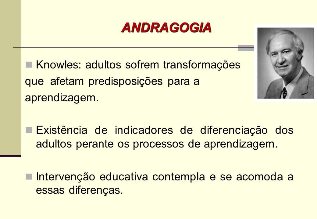 o Um caminho educacional compreender o adulto componentes humanos, o Ente psicológico, biológico e social; o Promover o aprendizado através da experiê