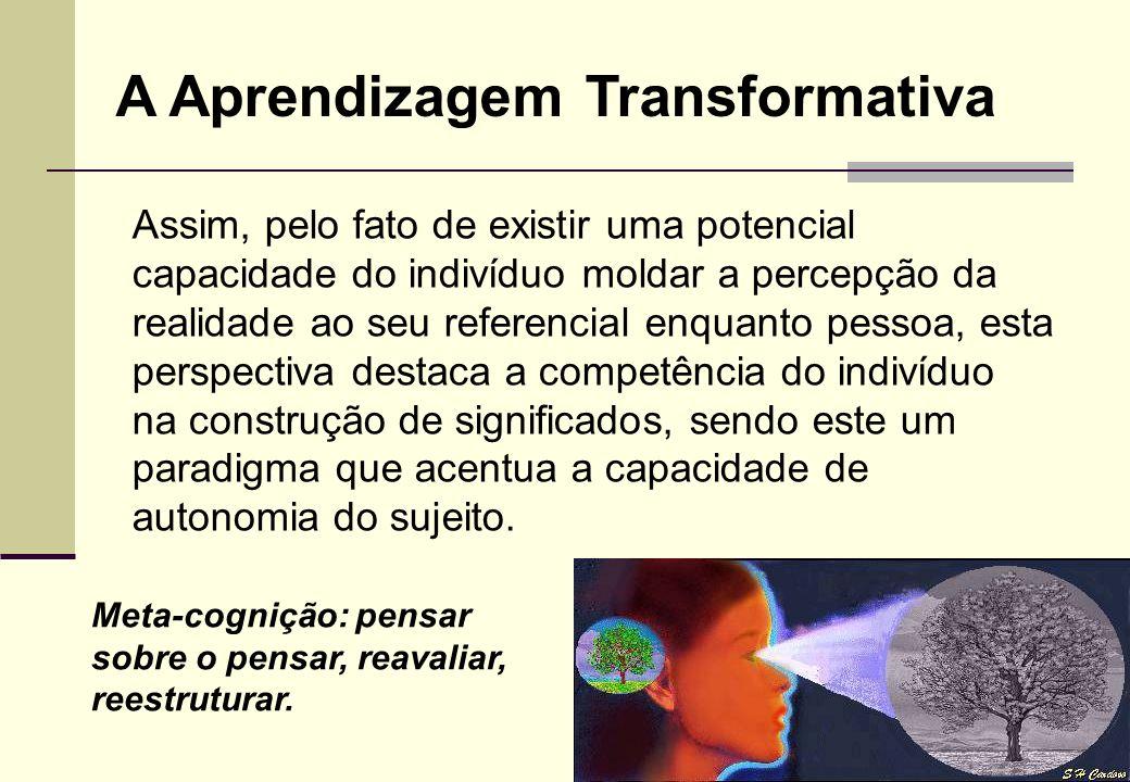 Tanto para o construtivismo quanto para a aprendizagem transformativa, o sujeito é parte ativa no seu processo de desenvolvimento e que constrói signi