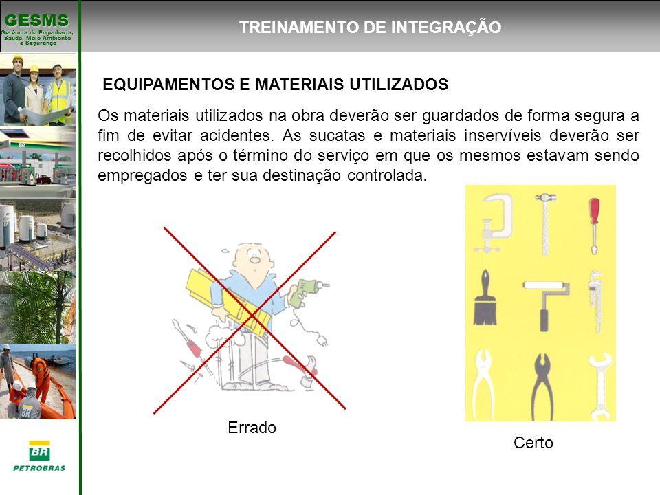 Gerência de Engenharia, Gerência de Engenharia, Saúde, Meio Ambiente e Segurança e Segurança GESMS EQUIPAMENTOS E MATERIAIS UTILIZADOS Os materiais ut