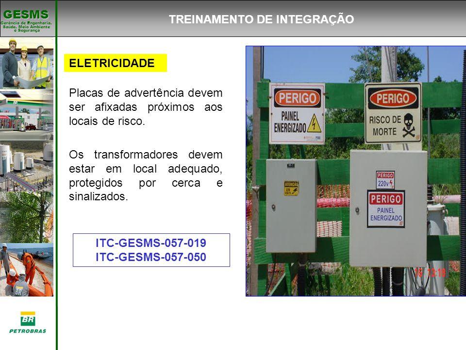 Gerência de Engenharia, Gerência de Engenharia, Saúde, Meio Ambiente e Segurança e Segurança GESMS ELETRICIDADE Placas de advertência devem ser afixad