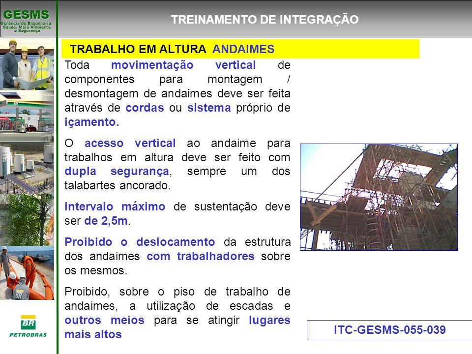 Gerência de Engenharia, Gerência de Engenharia, Saúde, Meio Ambiente e Segurança e Segurança GESMS Toda movimentação vertical de componentes para mont