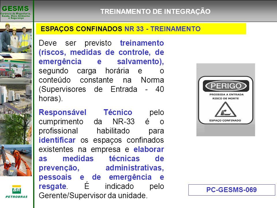 Gerência de Engenharia, Gerência de Engenharia, Saúde, Meio Ambiente e Segurança e Segurança GESMS ESPAÇOS CONFINADOS NR 33 - TREINAMENTO PC-GESMS-069