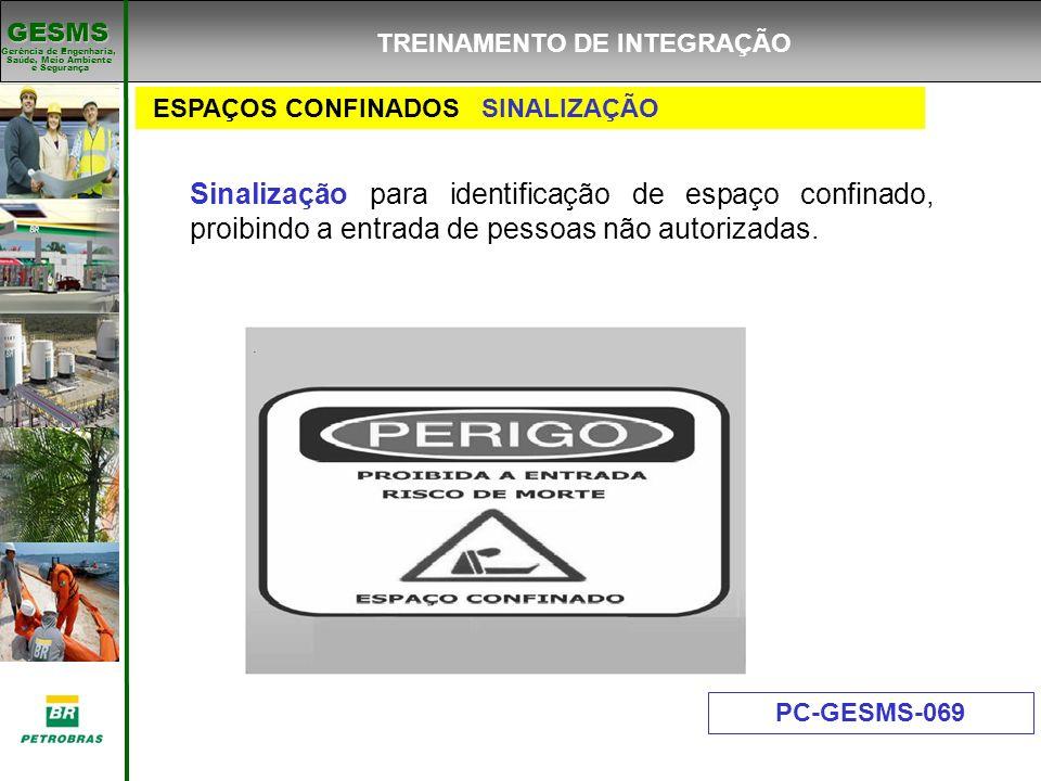 Gerência de Engenharia, Gerência de Engenharia, Saúde, Meio Ambiente e Segurança e Segurança GESMS ESPAÇOS CONFINADOS SINALIZAÇÃO PC-GESMS-069 Sinaliz