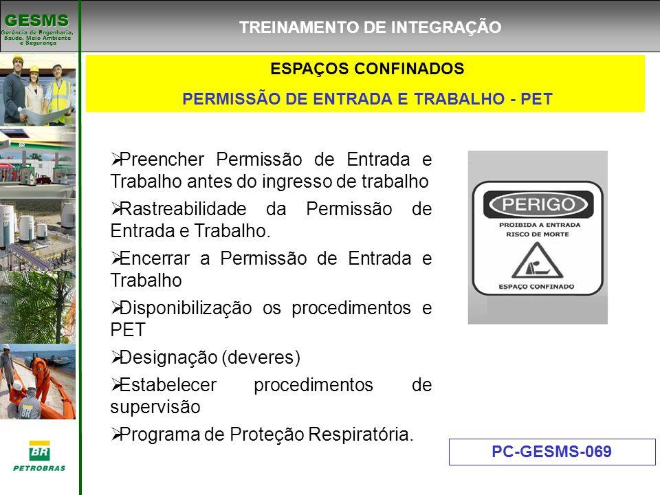 Gerência de Engenharia, Gerência de Engenharia, Saúde, Meio Ambiente e Segurança e Segurança GESMS ESPAÇOS CONFINADOS PERMISSÃO DE ENTRADA E TRABALHO