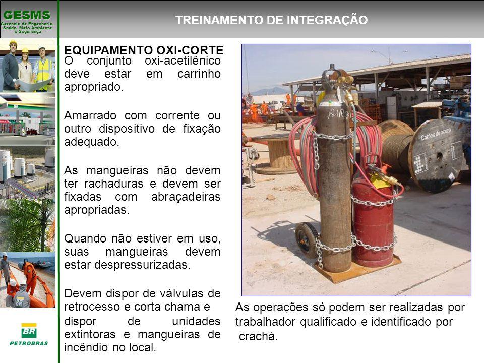 Gerência de Engenharia, Gerência de Engenharia, Saúde, Meio Ambiente e Segurança e Segurança GESMS EQUIPAMENTO OXI-CORTE O conjunto oxi-acetilênico de