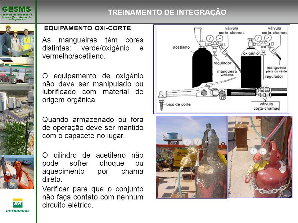 Gerência de Engenharia, Gerência de Engenharia, Saúde, Meio Ambiente e Segurança e Segurança GESMS EQUIPAMENTO OXI-CORTE As mangueiras têm cores disti