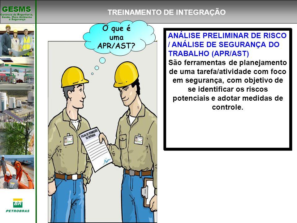 Gerência de Engenharia, Gerência de Engenharia, Saúde, Meio Ambiente e Segurança e Segurança GESMS TREINAMENTO DE INTEGRAÇÃO O que é uma APR/AST? ANÁL