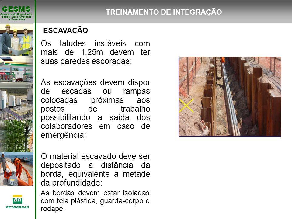 Gerência de Engenharia, Gerência de Engenharia, Saúde, Meio Ambiente e Segurança e Segurança GESMS ESCAVAÇÃO Os taludes instáveis com mais de 1,25m de