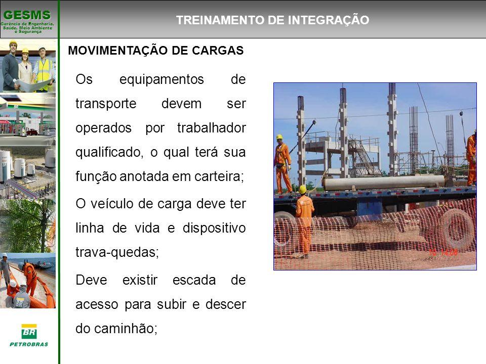 Gerência de Engenharia, Gerência de Engenharia, Saúde, Meio Ambiente e Segurança e Segurança GESMS MOVIMENTAÇÃO DE CARGAS Os equipamentos de transport